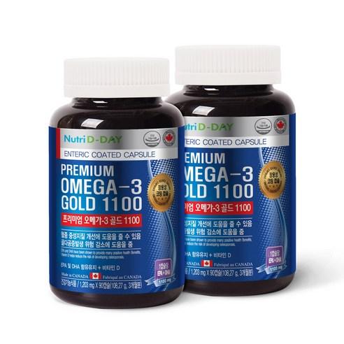 [Nutri D-DAY] Premium Omega-3 Gold 1100 1203mg X 90 Capsules*2 (Weight : 260g)