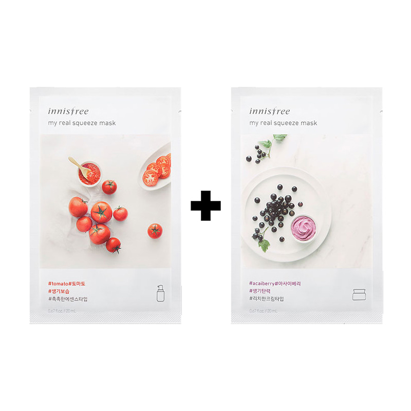 [20ea][Innisfree] My Real Squeeze Mask #Acai Berry 10ea+Tomato 10ea (Weight : 540g)