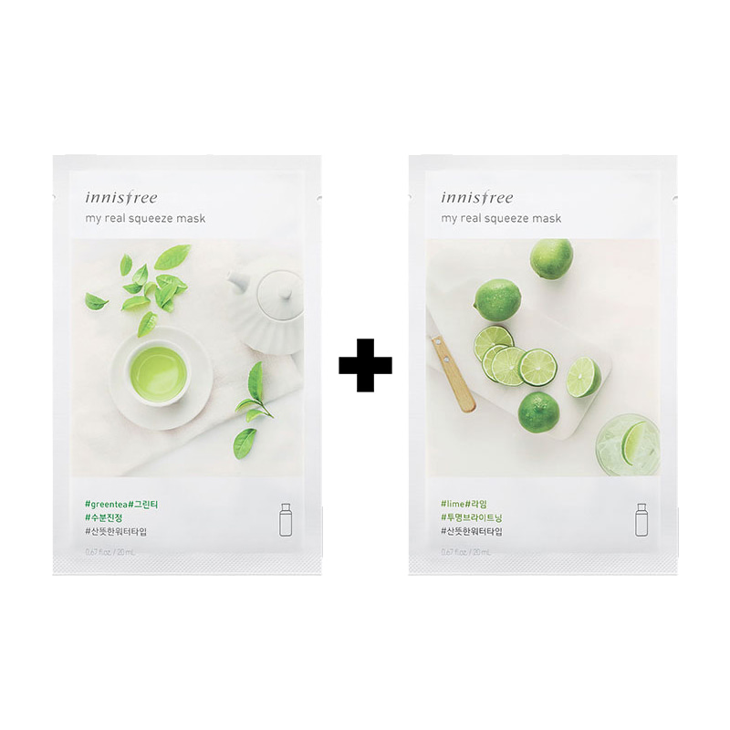 [20ea][Innisfree] My Real Squeeze Mask #Green Tea  10ea+Lime 10ea (Weight : 540g)