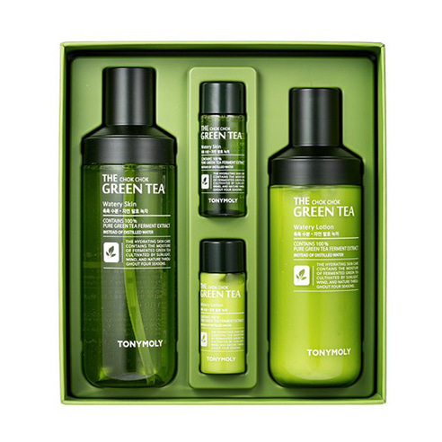 [Tonymoly] The Chok Chok Green Tea Watery Skin Care Set 180ml+160ml+20ml+20ml (Weight : 550g)