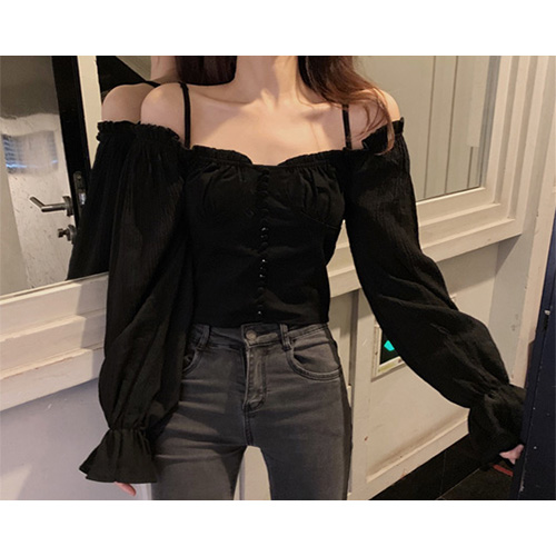 Bess Off Shoulder Square Neck Crop Short Blouse (2Color)