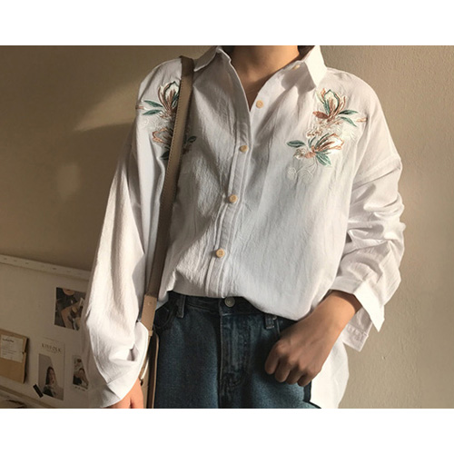 Bay Cotton Embroidery Blouse (2Color)