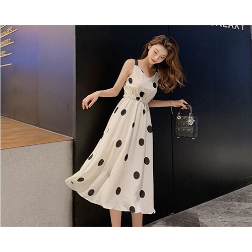 Back Open Dot Dress (2Color)