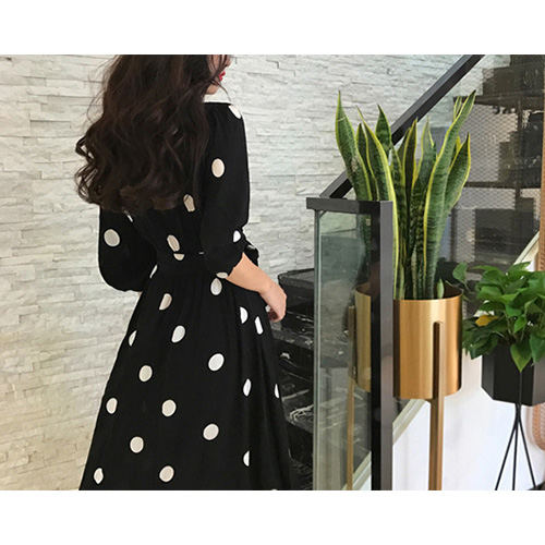 Black Dot Long Dress