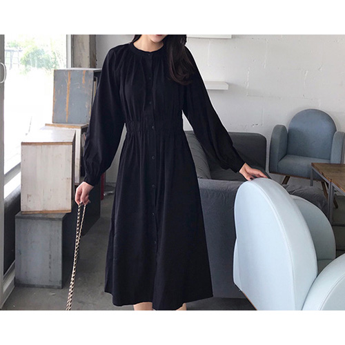 Aptum Shirring Long Dress (2Color)
