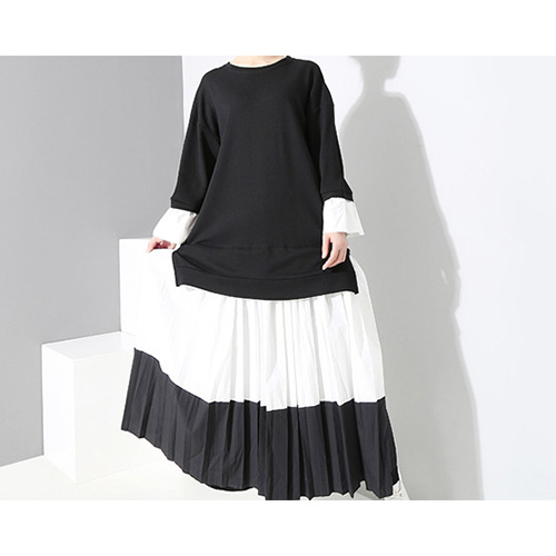 Black & White Pleated Long Dress