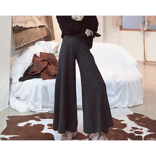 Ash Charcoal Flared Knit Pants
