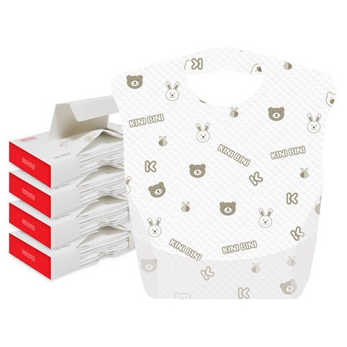 [Kinibini] Disposable Baby Bibs 12p*4 (Weight : 440g)