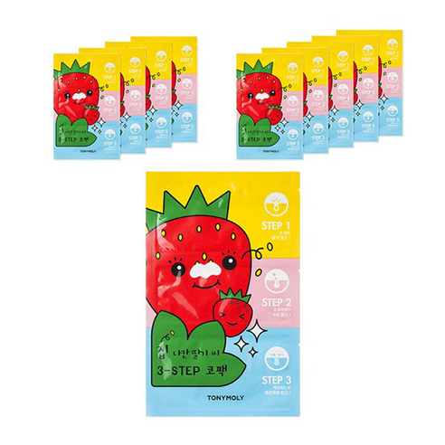[Tonymoly] Runaway Strawberry Seeds 3-Step Nose Pack 10ea (Weight : 50g)